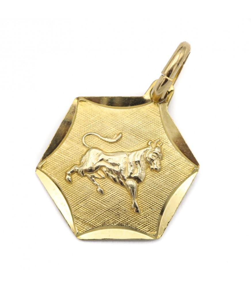 Taurus Yellow Gold Zodiac Charm Pendant